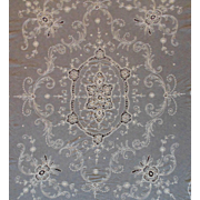 Antique 19c French Lace Netting Tambour Bed Cover Bedspread Embroidered Flowers Floral Off-White France