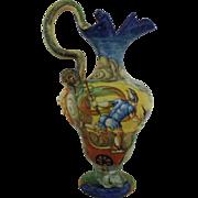 Italian Cantagalli Hand-Painted Ewer Vase Italy Majolica Faience