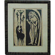 Art Deco Religious Woodblock Print Crucifixion Jesus Virgin Mary Madonna Wood Block 1/50 Signed Modernist