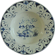 18th c. Dutch Delft Charger Bowl Blue & White Pottery w/ Man Walking Birds Flowers Buildings Faience Antique