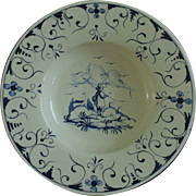 18th c. Dutch Delft Charger Bowl Blue & White Pottery w/ Man Cattle Birds Buildings Flowers Trees Faience Antique