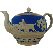 Antique Copeland Spode Tea Pot Blue & Cream Jasperware Porcelain England English Hunt Hunting Teapot