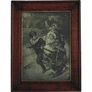 19c Antique Victorian Print w/ Oak Wood Frame Children & Dog Black and White Signed Fred Morgan