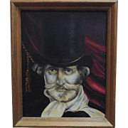 Gentleman in Top Hat Painting Oil on Board Portrait