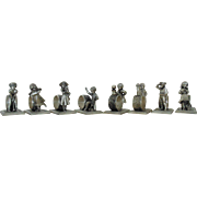 8 Silver Plate Napkin Rings Figural Children At Play Complete Set w/ Box Vintage 1979 by Lance Silverplate