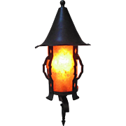 Antique Arts & Crafts Lantern Wall Lamp Sconce Hand-Forged Iron w/ Mica Shade Mission Bungalow