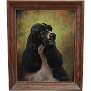 American Cocker Spaniel Dog Oil Painting Vintage Animal
