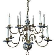 Superb Vintage Delft Chandelier Two Tier Blue & White Pottery & Brass