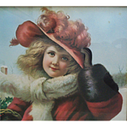 Vintage Christmas Gifts Print Little Girl in Victorian Fashion Winter Scene Child