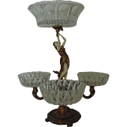 French Bronze Figural Lady Epergne Centerpiece w/ Cut Crystal Glass Bowls