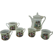 19c Antique French Miniature Tea Set Teapot, Cups & Sugar Bowl Porcelain Tea Pot Transferware Victorian Child's Children