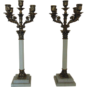 Statuesque Gilt Metal & Marble Candelabra Pair Corinthian Columns Candle Holders Candelabrum Neo-Classical