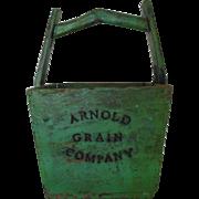 Antique Wood Arnold Grain Company Bucket Pail Primitive Original Green Paint Advertising Farm