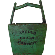 Antique Wood Arnold Grain Company Bucket Pail Primitive Original Green Paint Advertising Farm