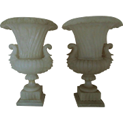 RARE Pair LARGE Alabaster Urns w/ Figural Handles Planters