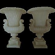RARE Pair LARGE Alabaster Urns w/ Figural Handles Planters