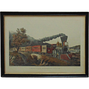 LARGE 19c RARE Antique ORIGINAL Currier & Ives American Express TRAIN Lithograph Litho Print RAILROAD River Boat F. F. Palmer