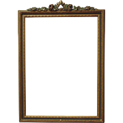 Art Deco Picture Frame Gilt Wood & Gesso Barbola Ribbon & Roses Floral Flowers Polychrome for Painting / Photograph / Print