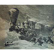 Engraving Civil War Soldiers Train Disaster Snow Storm of 1864 Railroad Harper's w/ Provenance