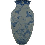 Antique Chinese Porcelain Vase Blue White Bird Flowers Asian Oriental Signed