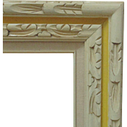 Modern Wood Picture Frame Carved Notched Mid Century White & Yellow for Painting Print