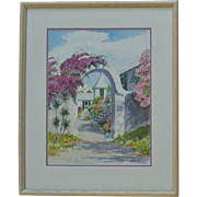 "Bermuda Watercolor Painting signed Mary Zuill Titled ""Springfield"""