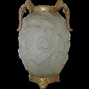 Vintage Satin Glass Butterfly Vase w/ Gilt Metal Fittings Angels Cherubs Putti Butterflies