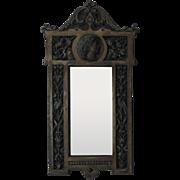 19c Bronze Neo-Classical Wall Mirror w/ Birds & Flowers Aesthetic Eastlake Antique