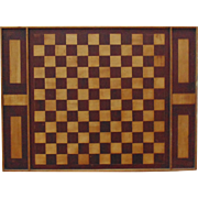 Antique Game Board Inlaid Wood Checkers Draughts Primitive Folk Art Hand-Made