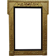 LARGE 19c Victorian Picture Frame Gilt Wood & Gesso Aesthetic Eastlake for Painting Mirror or Print Antique c. 1870-80 Butterfly Flowers Floral