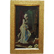 19c Victorian Hand Colored Print & Gilt Wood Picture Frame Antique Artist Painter