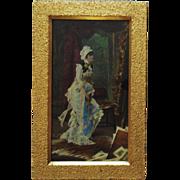 19c Victorian Hand Colored Print & Gilt Wood Picture Frame Antique Artist Painter
