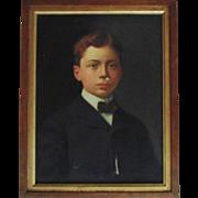 Antique Oil Painting Young Man Boy Child Portrait c. 1909