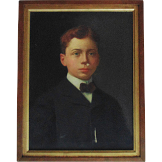 Antique Oil Painting Young Man Boy Child Portrait c. 1909