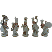 Set Porcelain Musicians Military Marching Band Saxophone Drum Tuba Cymbals P.A.E.S.A. PAESA LM Spain Spanish Figurines Figures