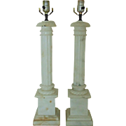 Pair of TALL Italian Table Lamps Vintage Alabaster Corinthian Column Neo-Classical Italy