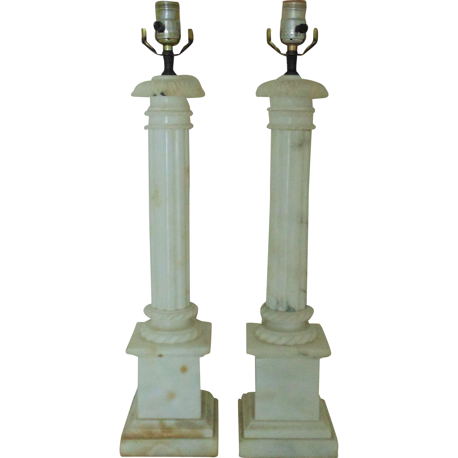 Pair of tall italian table lamps vintage alabaster corinthian pair of tall italian table lamps vintage alabaster corinthian column neo classical italy geotapseo Choice Image