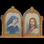 Vintage Gilt Bronze Picture Frame Religious Madonna Virgin Mary Jesus Christ Prints