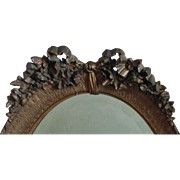 Antique Victorian Oval Gold Mirror w/ Barbola Ribbon Bow & Roses Wood and Gesso Beveled Glass