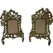 "Pair Vintage Picture Frames Gilt Metal Knights on Horses Dragons Griffins for 5"" x 3 1/2"" Picture Medieval"