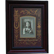 Antique Victorian Photo of Little Girl Child Photograph Black & White Aesthetic Eastlake Matting