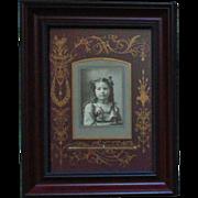 Antique Victorian Photo of Little Girl Child Photograph Black & White Aesthetic Eastlake Matting