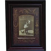 Antique Victorian Cabinet Card Photo of Pit Bull Pitbull Dog Photograph Black & White Aesthetic Eastlake Matting