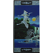 Large Vintage Chinese or Japanese Panel Heron Bird Painting Lacquer & Mother of Pearl Asian Oriental