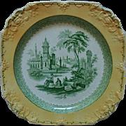 "Antique George Jones ""Marlborough"" Transferware Platter Cabinet Plate Charger Yellow & Green England English"