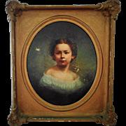 LARGE Antique 19c Portrait Painting Little Girl Child Oil on Canvas w/ Gilt Wood & Gesso Frame