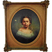 LARGE Antique 19c Portrait Painting Little Girl Child Oil on Canvas w/ Gilt Wood & Gesso Frame