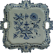 "RARE Meissen Blue Onion 16"" Serving Tray Rococo Style Blue & White Porcelain Crossed Swords German Germany WOW!"