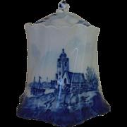 Antique Rosenthal Delft Cracker Biscuit Jar Porcelain Versaille Bavaria Germany c. 1891 Blue & White