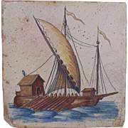 Unusual LARGE 17c Delft Tile Galley Ship Polychrome Hand-Painted Antique